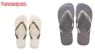 Havaianas Top Metallic Flip Flop For Women - Grey Silver - Size: 39