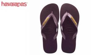Havaianas Top Logo Metallic Gold Aubergine Flip Flop For Women Size: 41