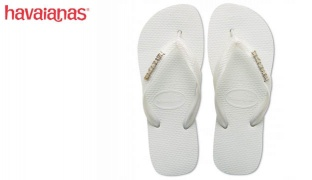 Havaianas Top Logo Metallic Silver White Flip Flop For Women Size: 41