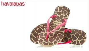 Havaianas Slim Animals Sand Grey/Pink Flip Flops For Women - Size: 39