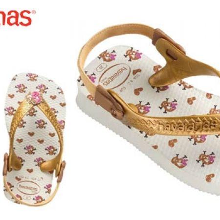 f1e64ac91 Havaianas Baby Chic Flip Flops For Kids - White/Gold - Size: 20 - Makhsoom