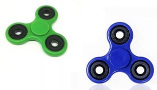 Tri-Spinner Fidget Plastic Hand Spinner - Blue/Black