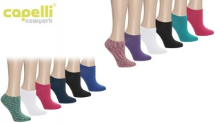 Capelli New York Super Soft No Show Socks 6 Pack For Women - Cool Combo