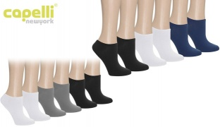 Capelli New York Solid Super Soft No Show Socks 6 Pack For Women - Black Combo