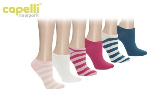 Capelli New York Multi Combo Stripes and Solids Super Soft No Show Socks 6 Pack For Women
