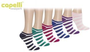 Capelli New York Multi Brites Stripes Super Soft No Show Socks 6 Pack For Women
