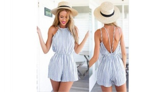 Fashion Sexy Backless Striped Romper For Women One Size