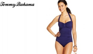 Tommy Bahama Ruched Halter Pearl Navy Blue One-Piece Swimsuit For Women Size: Small