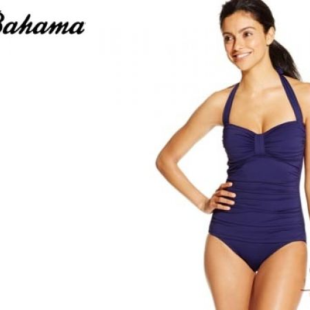 3574bf2f15c Tommy Bahama Ruched Halter Pearl Navy Blue One-Piece Swimsuit For Women Size:  Small - Makhsoom
