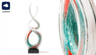 Leonardo White & Turquoise Rota Sculpture 38 cm
