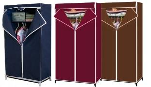 Quality Bedroom Fabric Wardrobe 90 x 44 x 155 cm - Navy Blue