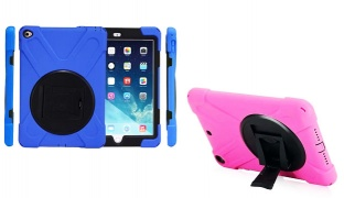 Heavy Duty Shockproof High Impact Resistant Multi-Layer Full Body Cover For iPad Air 2 - Pink