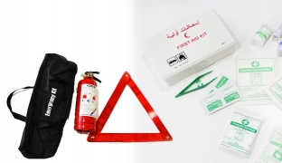 Emergency Complete Kit Of Fire Extinguisher Warning Triangle & First Aid Kit Box With Black Bag