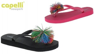 Capelli New York Jelly Thong With Koosh Ball Trim Flip Flops For Girls - Pink Combo - Size: 27-29