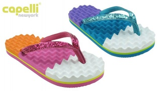 Capelli New York Metallic Faux Leather Thong On Colorblocked Egg Crate Textured Flip Flop For Girls - Cool Combo - Size: 27-29