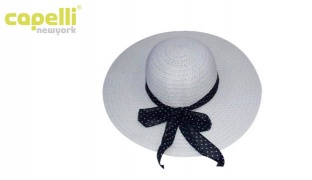 Capelli New York Classy Straw Round Summer Hat With Dotted Bow For Women