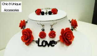 Chic & Unique Set Of Handmade Red Roses Love & Beads Choker With Earrings & Bracelet For Women