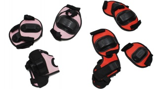 Set Of Knee Elbow Protective Pads For Rollerblade Cycling & Skateboard 6 Pcs - Pink