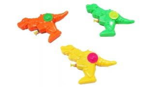 Set Of Plastic Dinosaur Water Gun 2 Pcs - Orange