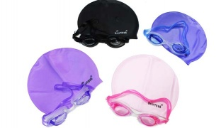 Set Of Sainteve Ajustable Silicone Swimming Goggles With Swimming Cap 2 Pcs - Blue