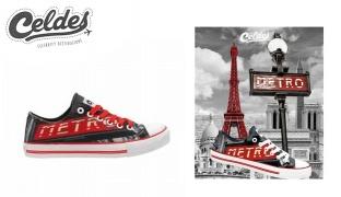 Celdes Metro Classique Du Paris Printed Canvas Side Casual Shoes For Women - Size: 36