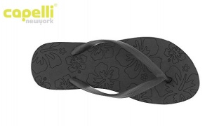 Capelli New York Black Textured Frosted Jelly Thong On A tropical Hibiscus Flip Flops For Women - Size: 37