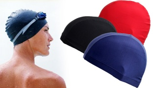 Solid Color Swimming Cap For Women - Black