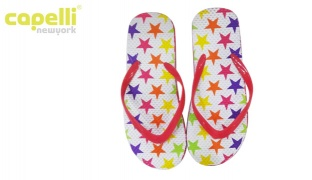 Capelli New York Colorful Textured Frosted Jelly Thong Stars Flip Flops For Women - Size: 37