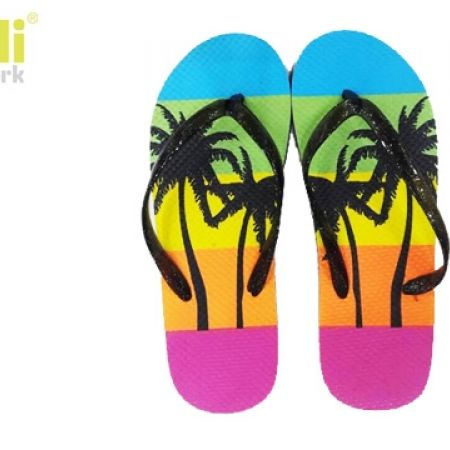 d24c5248b96440 Capelli New York Textured Frosted Jelly Thong Summer Palms Flip Flops For  Women - Size  37 - Makhsoom