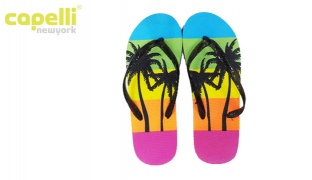 Capelli New York Textured Frosted Jelly Thong Summer Palms Flip Flops For Women - Size: 37