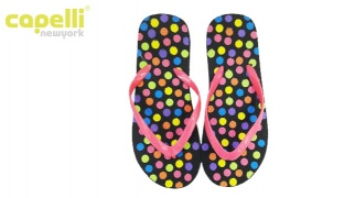 Capelli New York Colorful Textured Frosted Jelly Thong Dotted Flip Flops For Women - Size: 37