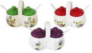 Set Of Porcelain Coffee & Sugar Containers With Lids & Teaspoons - Purple