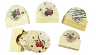 Set Of Natural Bamboo Coaster With Holder 6 Pcs - Round Flowers Vase