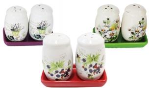 Set Of Porcelain Salt & Pepper Set With Stand 3 Pcs - Purple