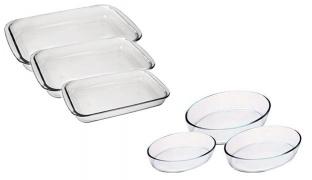 Set Of Clear Glass Baking Dishes 3 Pcs - Rectangular