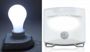 Set Of Stick Up Cordless Bulb Battery Operated Light & Motion Detect Light 2 Leds