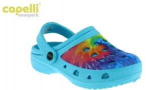 Capelli New York Turquoise Combo Dip Dyed With Backstrap Clog For Kids - Size: 27-29