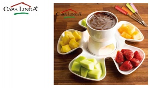 Casa Linga Porcelain Fondue Set With Divided Plate & 4 Forks