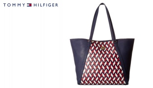 Tommy Hilfiger Navy Blue & Multi Adaline II Tote Chevron Convertible Handbag For Women