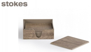 Stokes Set Of Faux Wood Coaster With Stand 6 Pcs