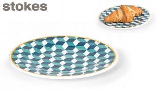 Stokes Blue & White Plastic Hypno Side Plate