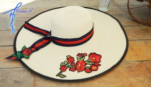 Corine.N Straw Flowered Summer Beach Straw Hat With Red & Navy Blue Band For Women