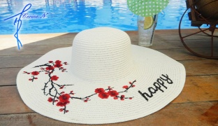 Corine.N Straw Emroidery Happy Summer Beach Straw Hat For Women