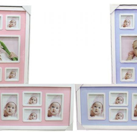 Wooden Divided Hanging Photo Frame - Large - Pink