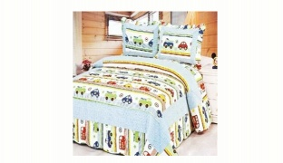 Set Of Sammy Cars & Busses With Light Blue Patchwork Bed Coverlet & Sham For Single Size 150 x 200 cm