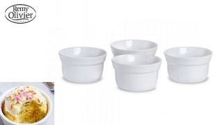 Remy Olivier Set Of White Stoneware Elite Ramekin 4 Pcs