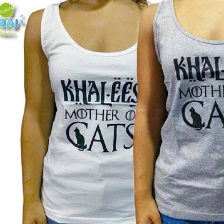 """Customnation Khaleesi """"Mother Of Cats"""" Game of Thrones Tank Top For Women - White - XS"""