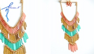 Corine.N Set Of Bohemian Simple Turquoise & Pink Necklace With Earrings For Women