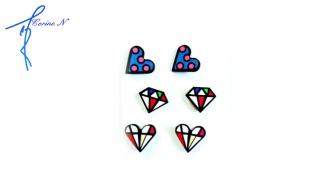 Corine.N Set Of Classy Diamonds & Hearts Earrings 3 Pairs