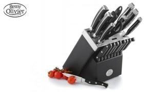 Remy Olivier Set Of Black Ombre Knife Set With Wooden Block 19 Pcs